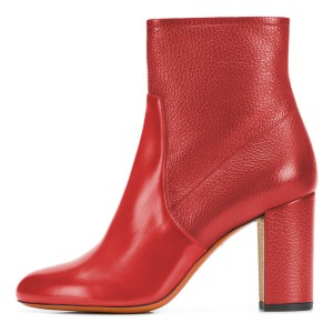 Red Joint Ankle Boot chunky Heel Boots