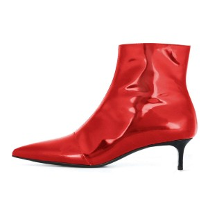 Red Kitten Heel Ankle Booties