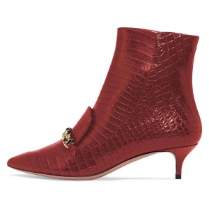 Red Kitten Heel Boots Pointy Toe Chains Ankle Booties