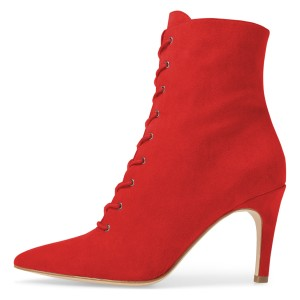Red Lace up Boots Elegant Pointed Toe Ankle Booties with Zipper