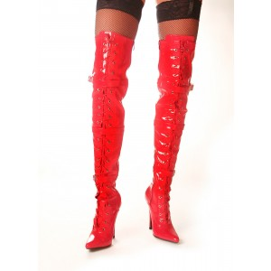 Red Lace Up Straps Stiletto Long Boots Thigh High Boots