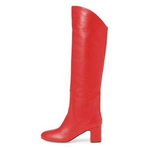 Red Tall Boots Round Toe Block Heel Knee Boots