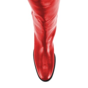 Red Long Boots Flat Knee High Boots