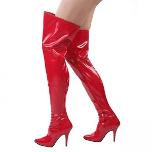 Red Long Boots Pointy Toe Stiletto Heel Over-the-knee Boots