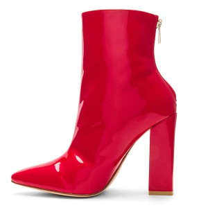 Red Mirror Leather Chunky Heel Boots Ankle Boots