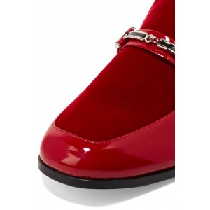 Red Mirror Leather Loafers for Women