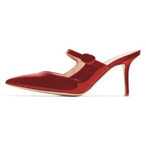 Red Mirror Leather Stiletto Heel Mules