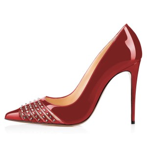 Red Mirror Leather Rivets Pointy Toe Stiletto Heels Pump