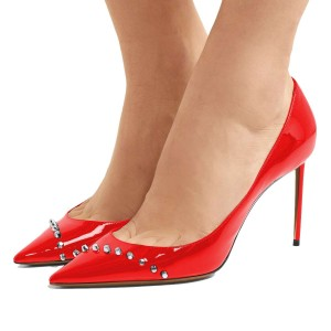 Red Mirror Leather Stud Stiletto Heels Office Shoes Pumps