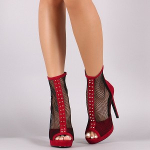 Red Nets Rivets Peep Toe Platform Stiletto Heels Summer Boots