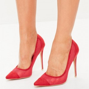 Red Nets Suede Pointy Toe Stiletto Heels Pumps