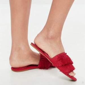 Red Open Toe Fringe Mules Tassels Sandals for Women