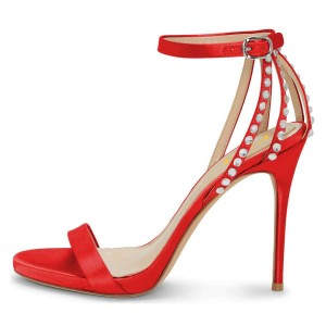 Red Open Toe Rhinestone Ankle Strap Stiletto Heels Sandals