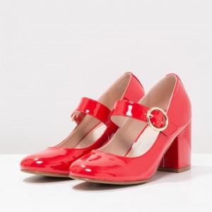 Red Patent Leather Block Heels Round Toe Mary Jane Pumps for Women