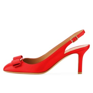 Red Patent Leather Bow Stiletto Heel Slingback Pumps