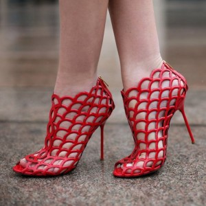 Red Patent Leather Caged Stiletto Heels Sandals