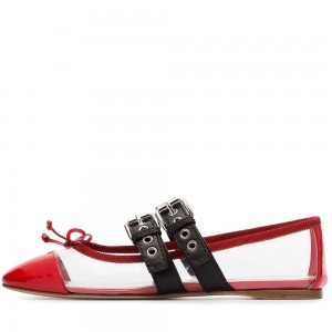 Red Patent Leather Clear PVC Comfortable Flats with Buckles
