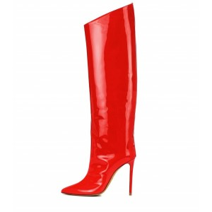 Red Patent Leather High heel Boots Knee-high Boots