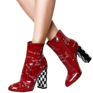 Red Patent Leather Letters Chunky Heel Boots