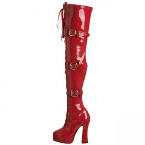 Red Buckle Boots Patent Leather Lace up Chunky Heel Thigh High Boots