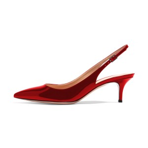 Red Patent Leather Slingback Heels Pointy Toe Kitten Heels Shoes