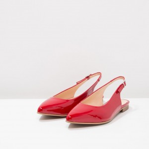 Red Patent Leather Slingback Shoes Pointy Toe Comfortable Flats