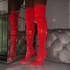 Red Patent Leather Thigh High Heel Boots for Women