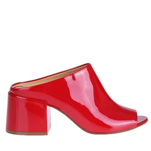 Red Peep Toe Patent Leather Mule Block Heels US Size 3-15