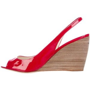 Red Peep Toe Wedge Heels Office Shoes Slingback Sandals
