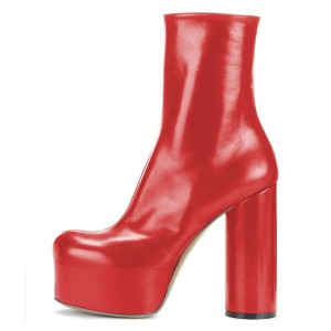 Red Platform Boots Fashion Chunky Heel Ankle Boots