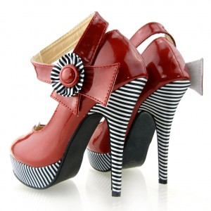 Red Stripes Platform  Heels  vintage style Shoes