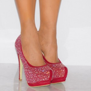Red Platform Heels Super High Stilettos Heels Pumps with Rhinestone