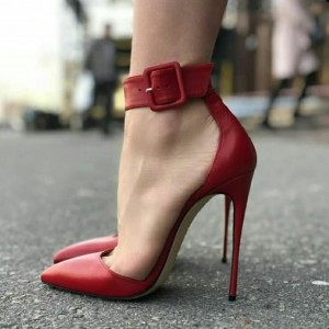 Red Pointy Toe Ankle Strap Heels Stilettos Sexy High Heel Shoes
