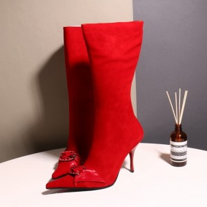 Red Pointy Toe Buckle Rhinestone Stiletto Heel Fashion Boots