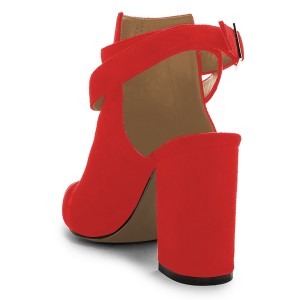 Red Buckle Pointy Toe Chunky Heel Slingback Ankle Booties