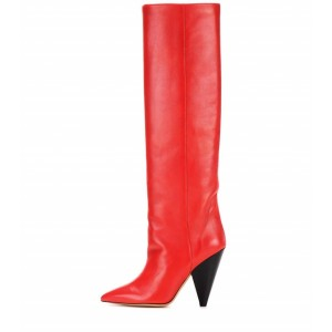 Red Pointy Toe Cone Heels Knee-high Long Boots
