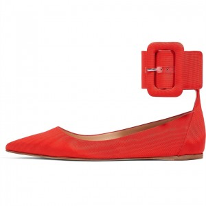 Red Pointy Toe Flats with Oversize Buckle
