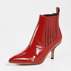 Red Pointy Toe Kitten Heel Ankle Booties