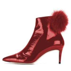 Red Pointy Toe Pom Pom Stiletto Boots Ankle Booties