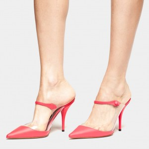 Red Pointy Toe PVC Mule Heels Pumps
