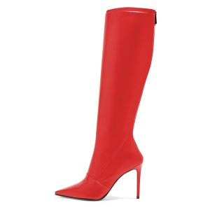 Red Pointy Toe Stiletto Boots Knee High Boots