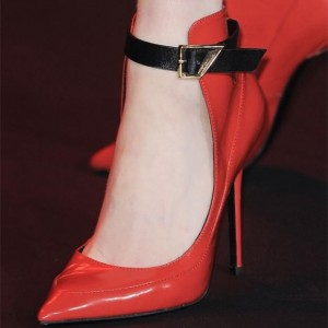 Red Pointy Toe Stiletto Heels Buckle Ankle Strap Pumps