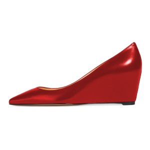 Red Pointy Toe Wedges Heels Commuting Office Heels for Women