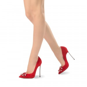 Red Prom Shoes Rhinestone Pointy Toe Stiletto Heel Pumps