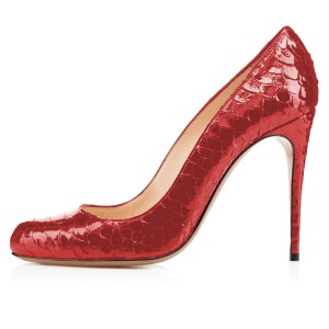 Red Python Stiletto Heels Round Toe Pumps