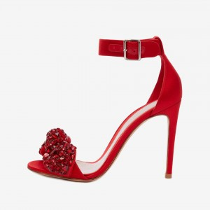 Red Rhinestone Bow Stiletto Heels Satin Ankle Strap Sandals