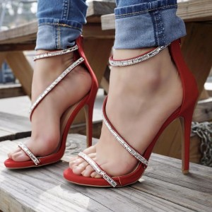 Red Rhinestone Evening Shoes Open Toe Stiletto Heel Sandals