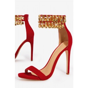 Red Rhinestone Open Toe Stiletto Heels Ankle Strap Sandals