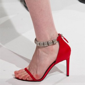 Red Rhinestone Open Toe Stiletto Heels Zip Ankle Strap Heels Sandals