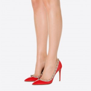 Red Rivets Stiletto Heels Pumps Office Heels